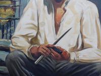 Large oil on canvas The worker Brazilian artist Chediac (Free shipping to Mainland England) (4 of 10)