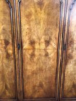 Antique Figured Walnut Triple Wardrobe (6 of 13)