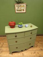 Antique Green Bow Fronted Chest of Drawers, Shabby Chic (18 of 18)