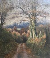 Mervyn Goode Oil Painting - Oak Leaves in the Deep Lane Emshott Green Hampshire