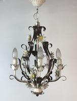Vintage Rustic Original French Toleware Daisies Ceiling Light Chandelier (7 of 9)