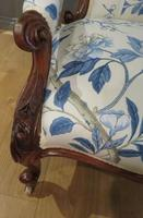 Victorian Walnut Armchair New Upholstery c.1860 (8 of 11)