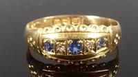 Late Victorian Diamond Blue Sapphire Dainty Gypsy Ring L 1/2 (6 of 11)
