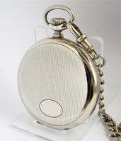 1920s Nickel Pocket Watch & Chain (3 of 6)
