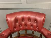 Victorian Leather Upholstered Revolving Desk Chair c.1885 (4 of 16)