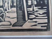 Mary Dudley Short (Molly Freeman), linocut print, Seated Buddha, 4/25, c1935 (3 of 6)