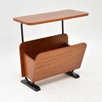 1960's Walnut Vintage Side Table / Paper Rack