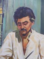 Large oil on canvas The worker Brazilian artist Chediac (Free shipping to Mainland England) (3 of 10)