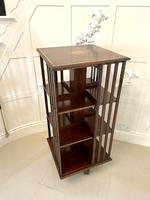 Large Antique Edwardian Inlaid Mahogany Revolving Bookcase