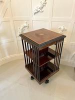 Antique Edwardian Mahogany Inlaid Revolving Bookcase