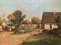 Josef Harencz Farmyard & Horses Landscape Oil Painting (7 of 10)