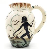 Guy Boyd : Australian Art Studio Pottery Jug Aboriginal & Kangaroo C.1950