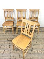 Set of Four Vintage Beech Chapel Chairs (3 of 16)