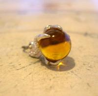 Vintage Silver Pocket Watch Chain Fob 1970s Dainty Talon or Claw Holding an Amber Ball (9 of 9)