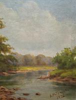 Beautiful Original 1921 Antique Riverscape Landscape Oil Painting (3 of 10)