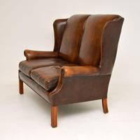 Georgian Style  Leather Wing Back Sofa c.1960 (3 of 12)