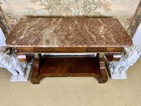 Regency Burr Walnut Console Table with Marble Top (5 of 9)