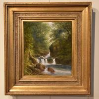 """Oil Painting Pair by William Ward Gill """"Falls at the Head of Loch Lomond"""" (2 of 8)"""
