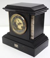 Fine French Slate & Marble Mantel Clock 8 Day Striking Mantle Clock (7 of 10)
