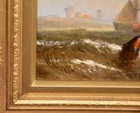 """Oil Painting Pair by William Calcott Knell """"Fishing Boats of the Dutch Coast"""" (8 of 9)"""