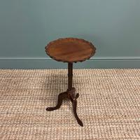 Edwardian Antique Walnut Pie Crust Edge Occasional Table (4 of 6)