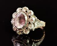 Antique Georgian Pink Topaz Cluster Ring, 18ct Gold, Foiled Paste (10 of 12)