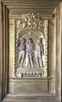 17th Century French Carved Giltwood & Painted Panel