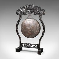 Antique Dinner Gong, Oriental, Ebonised Teak Stand, Chinoiserie, Victorian, 1880 (3 of 12)