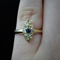 Antique Blue Sapphire & Rose Cut Diamond Marquise Navette 18ct Gold Ring (8 of 9)