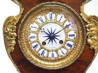 Antique French Burr Walnut & Ormolu 8-Day Mantel Clock Rococo Boulle Case Segment Dial (5 of 11)