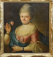 18th Century Oil Painting Portrait Lady In Pink Silk Dress Holding A Rose (3 of 62)