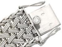 1.50ct Diamond & 18ct White Gold Bracelet - Vintage French c.1940 (6 of 10)