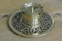 William Tonks & Sons Aesthetic Movement Castle Top Brass Inkwell c.1890 (2 of 6)