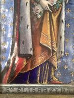 Antique Gothic Framed Enamel of St Elisabetha of Hungary Carrying Roses (7 of 11)