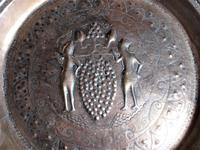 Flemish or German Brass Alms Dish 17th / 18th Century, Grapes of Canaan (2 of 10)