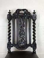 Antique 19th Century Carved Chair with Leather Seat (M-193) (9 of 14)