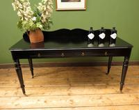 Antique Black Ebonized Console Table with Drawers & Moustache Back (17 of 22)