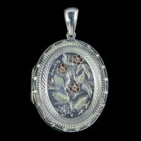 Antique Victorian Forget Me Not Locket Sterling Silver Gold Dated 1883 (4 of 7)