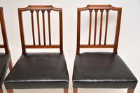 Set of 4 Antique Mahogany & Leather Dining Chairs (8 of 11)