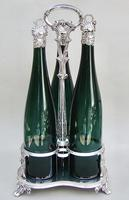 Fabulous Set of 3 Victorian Silver Mounted Bristol Green Glass Decanter By Henry Wilkinson & Co, Birmingham 1839 - in Original Silver Plated Stand (2 of 12)