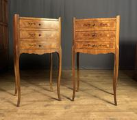 Pair of French Inlaid Tulipwood Bedside Tables (7 of 11)