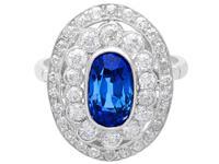 3.50 ct Ceylon Sapphire & 2.48ct Diamond, Platinum Dress Ring c.1935 (4 of 12)