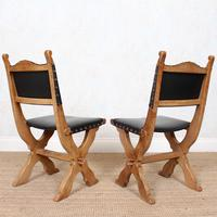 6 Oak Gothic Dining Chairs Carved (3 of 14)