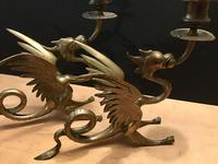 Pair of Decorative Brass Candlesticks in the shape of Dragons (3 of 6)