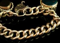 Antique 9ct Gold Curb Bracelet, Spinning Fobs (10 of 15)