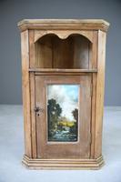 Rustic Pine Corner Cupboard Handpainted Fishing Scene (9 of 12)