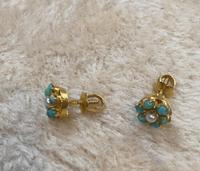 9ct Gold Turquoise & Pearl Cluster Earrings (2 of 5)