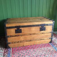 Antique French Steamer Trunk Coffee Table Old Rustic Chest and Key + Original Interior (4 of 12)