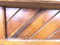 Antique Pitch Pine Church Pew with Enamel Number 37 (M-1639) (8 of 12)