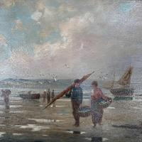 Antique marine seascape oil painting of fishing scene signed W Richards 2 of 2 (6 of 10)